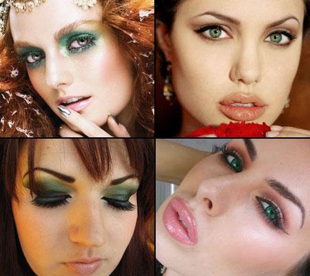 разные макияжи для зеленых глаз