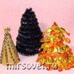 3 варианта новогодних украшений: мастер-класс изготовления декоративных елок