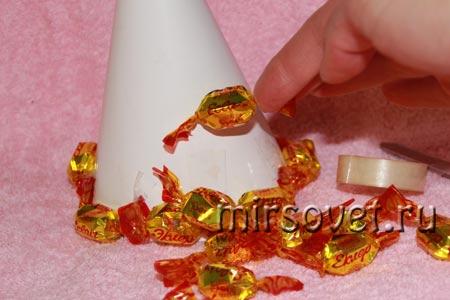 изготовление новогодней елочки из конфет