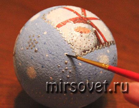 новогодний декупаж елочного шарика мастер класс фото 13