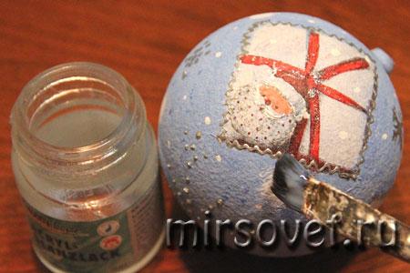 новогодний декупаж елочного шарика мастер класс фото 14