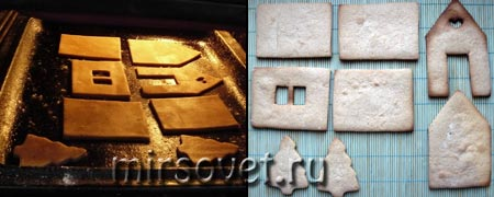 выпекание деталей для пряничного домика фото 1, 2