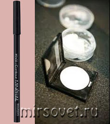 белые тени и карандаш для макияжа глаз