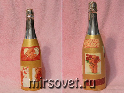 фон на бутылку нанесен