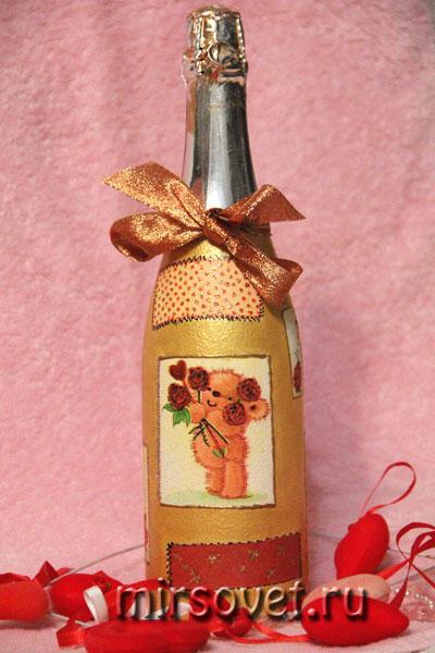 декупаж на бутылке шампанского ко дню святого Валентина