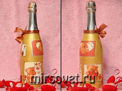 бутылка шампанского, декрорированная декупажем