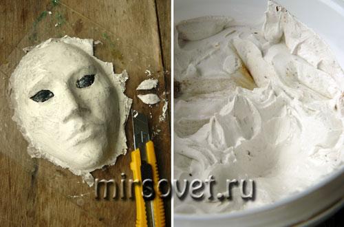выравниваем поверхность маски из папье-маше