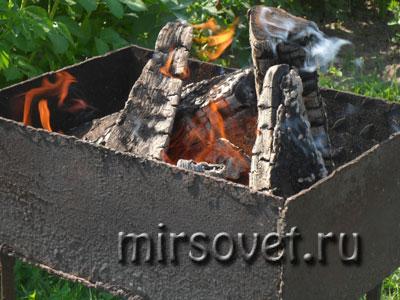 приготовление углей для шашлыка