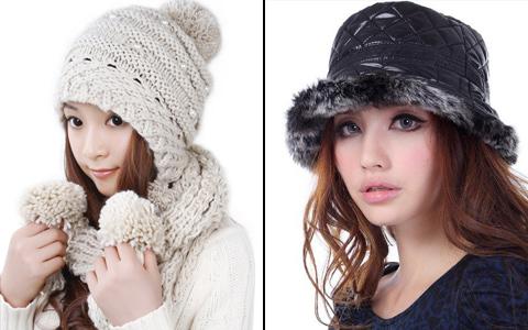 модные зимой 2013 шляпка и вязаная шапка