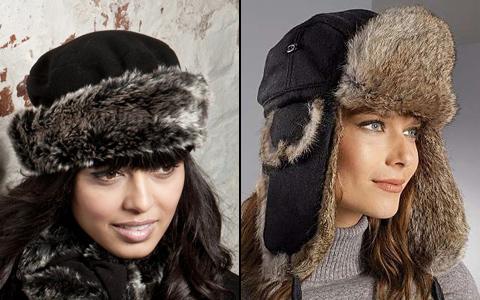 модная женская шапка таблетка и ушанка