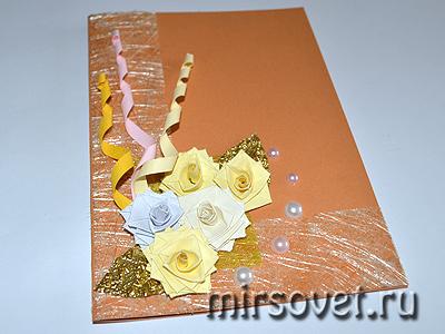 украшаем пасхальную открытку бусинками