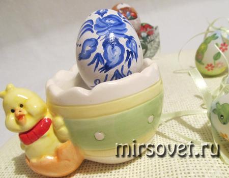 роспись яйца мотивами Гжель