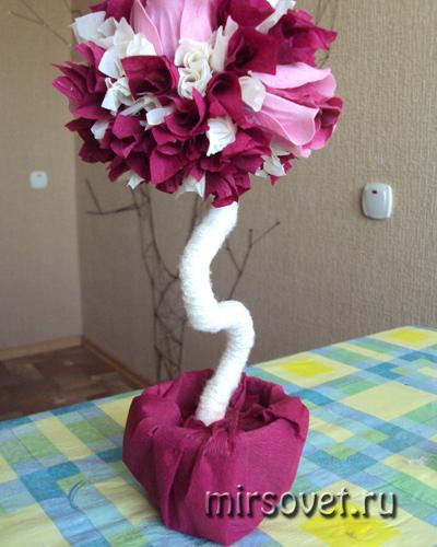 декорируем вазон бумагой