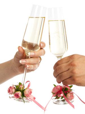 украшение свадебных фужеров цветами