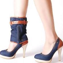 джинсовая обувь на высоком каблукн